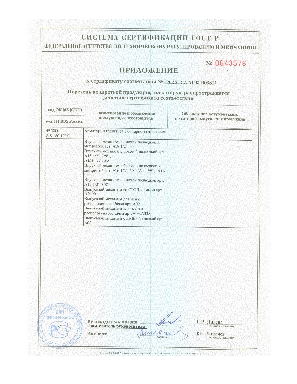 Сертификат соответствия ГОСТу Российской федерации 15